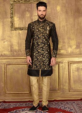 Black Art Silk Indowestern Sherwani