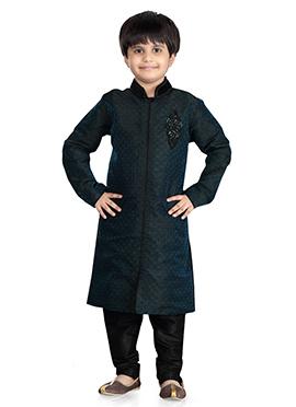 Black Art Silk Kids Kurta Pyjama
