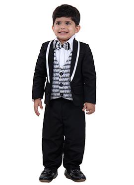 Black Art Silk Kids Suit