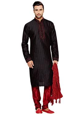 Black Art Silk Kurta Pyjama
