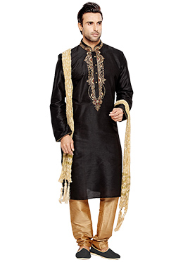 Black Art Silk Kurta Pyjama
