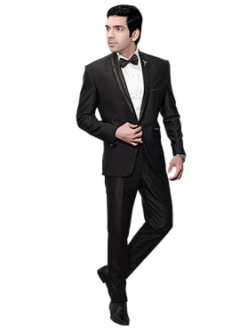 Black Art Silk Lapel Suit