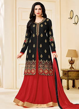 Black Art Silk Long Choli Lehenga