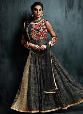 Black Art Silk N Net Anarkali Suit