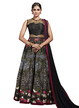 Black Art Silk N Net Gown