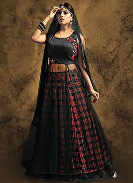 Black Art Silk N Net Long Choli Lehenga