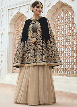 Black Art Silk Net Cape Style Umbrella Lehenga