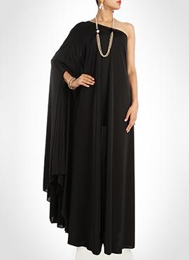 Black Art Silk One Shoulder Maxi Dress