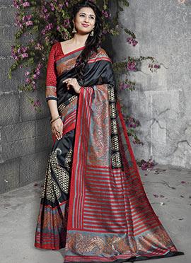Divyanka Tripathi Black Art Silk Saree