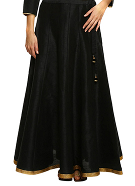 Black Art Silk Skirt