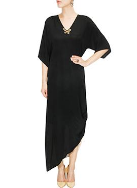 Black Asymmetrical Indowestern Maxi Dress