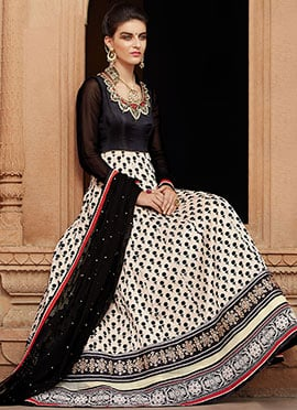 Black Banarasi Net Anarkali Suit