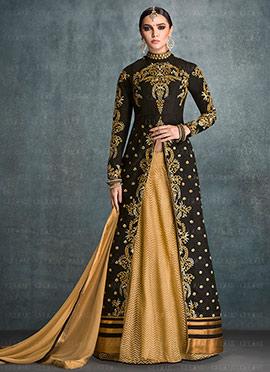 Black Art Silk Long Choli Lehenga