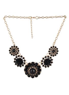Black Bead Ornate Floral Necklace