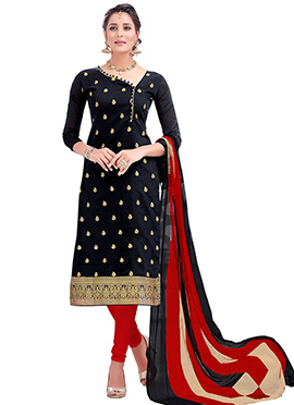 Black Benarasi Cotton Churidar Suit