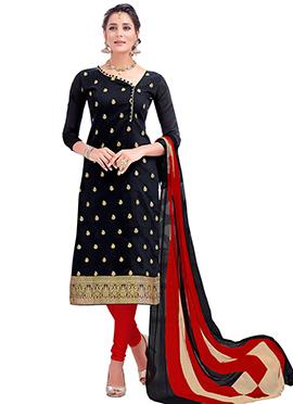 Black Benarasi Cotton Churidar Suit