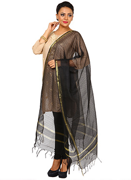 Black Benarasi Cotton Jute Dupatta