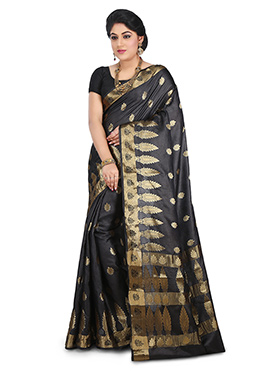 Black Benarasi Pure Silk Saree