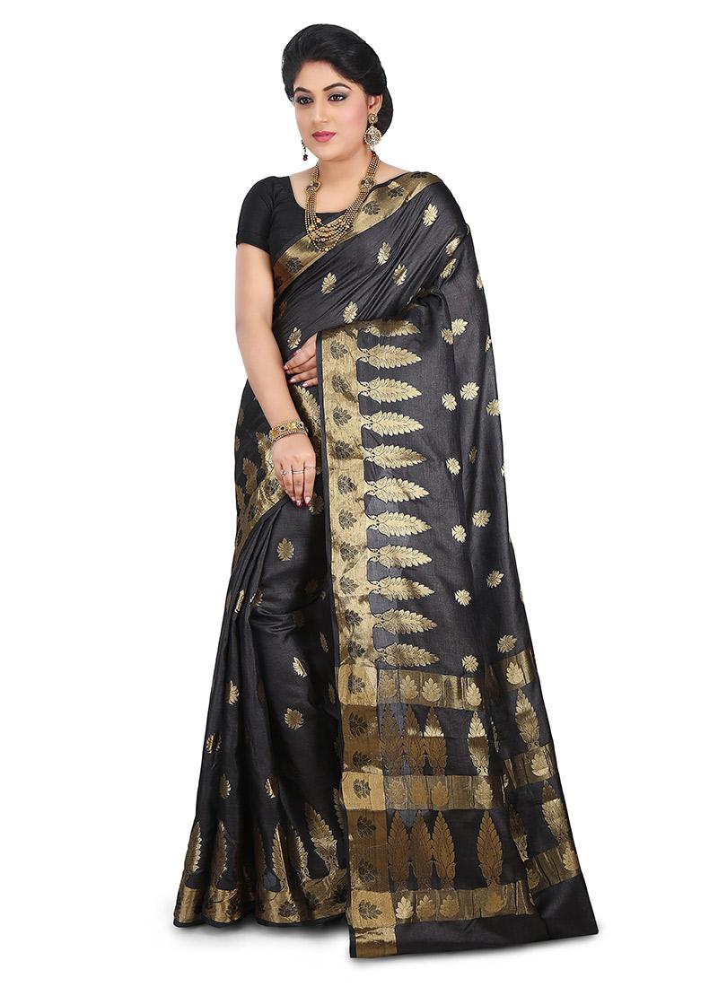 1e7438d197ab16 Buy Black Benarasi Pure Silk Saree, Benarasi , Zari, sari Online ...