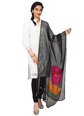 Black Benarasi Resham Woven Net Dupatta