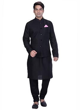 Black Benarasi Silk Cotton Bandi Set