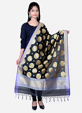 Black Benarasi Silk Dupatta