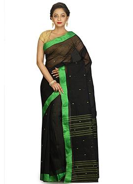 Black Bengal Handloom Tant Saree