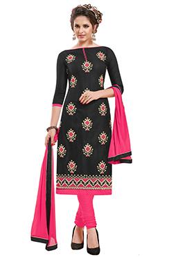 Black Bhagalpuri Art Silk Churidar Suit