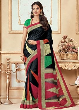 Black Bhagalpuri Art Silk Saree
