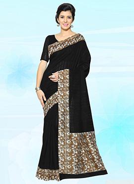 Black Bhagalpuri Art Silk Saree