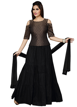Black Blended Cotton Umbrella Lehenga Choli