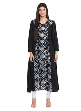 Black Blended Cotton Anarkali Kurti