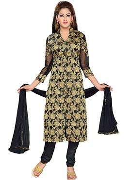 Black Blended Cotton Churidar Suit