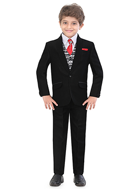 Black Blended Cotton Kids Suit