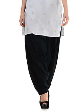 Black Blended Cotton Patiala Pant