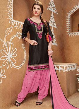 Black Blended Cotton Salwar Suit