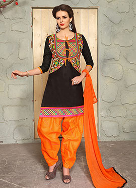 Black Blended Cotton Salwar Suit