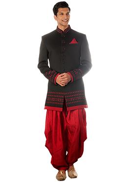 Black Blended Cotton Patiala Style Sherwani