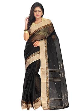 Black Blended Cotton Tangail Saree