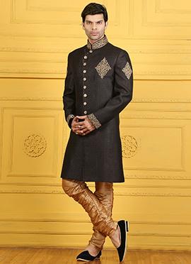 Black Breech Style Achkan Sherwani