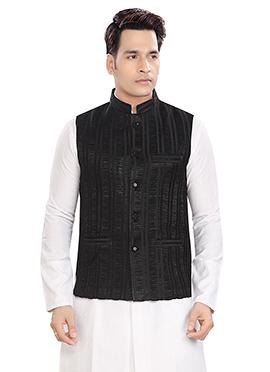 Black Brocade Bandhgala Jacket