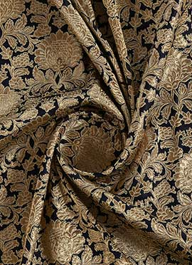Dark Navy Blue Brocade Fabric