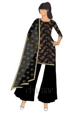 Black Brocade Palazzo Suit