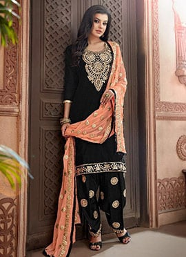 Black Chanderi Cotton Salwar Suit