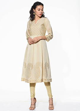 Black Chanderi Blended Cotton Flared Kurti