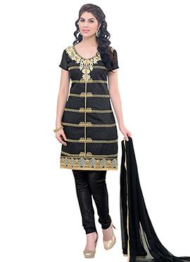 Black Chanderi Cotton Chudidar Suit