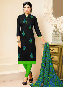 Black Chanderi Cotton churidar Suit