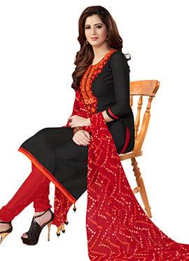 Black Chanderi Cotton Churidar Suit