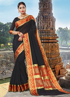 Black Chanderi Cotton Saree