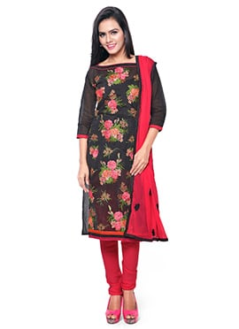 Black Chanderi Embroidered Churidar Suit